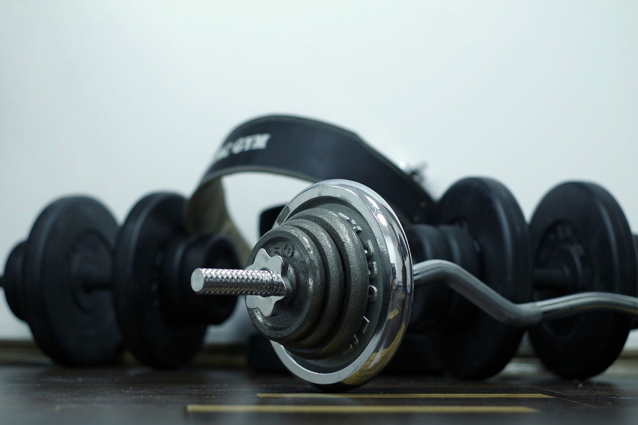 barbells on the ground