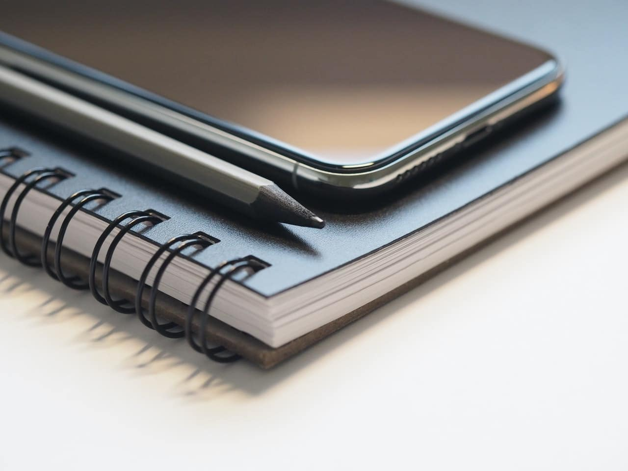 phone on a notebook