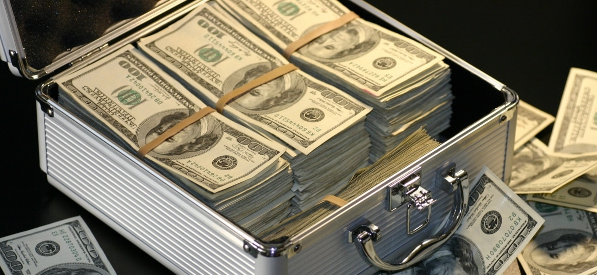 banknotes in a suitcase