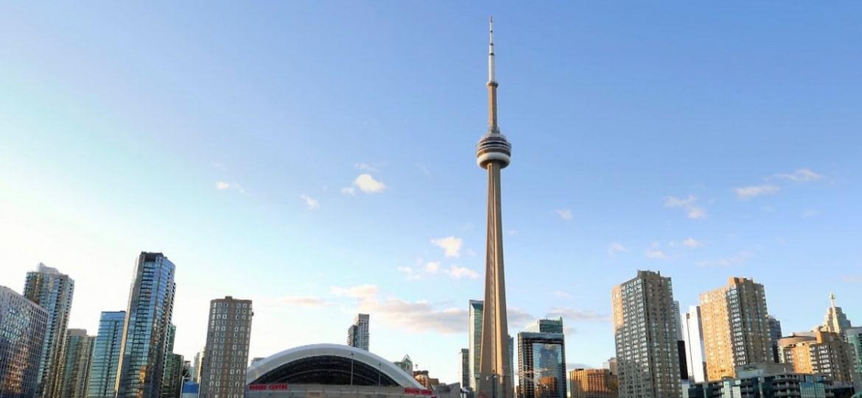 Toronto skyline shot across Lake Ontario
