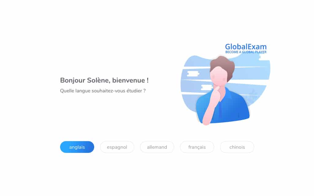 Interface de l'onboarding : choisir une langue.