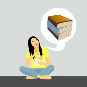 Woman thinking about books to train for CAE.