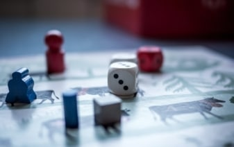 dice on a board game