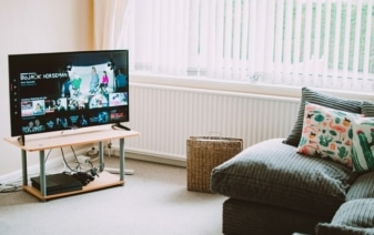 living room with a tv and sofa