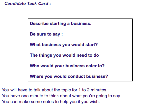 ielts exam candidate task card