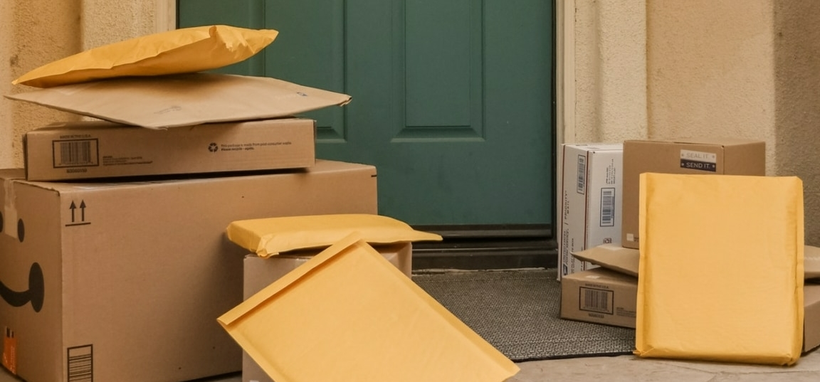 delivery boxes in front of a door